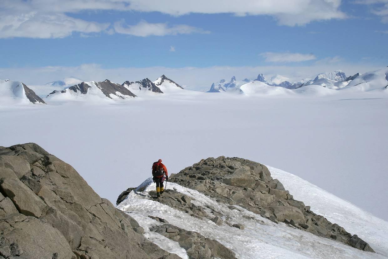 Geologist on nunatak, northern Churchill Peninsula © British Antarctic Survey