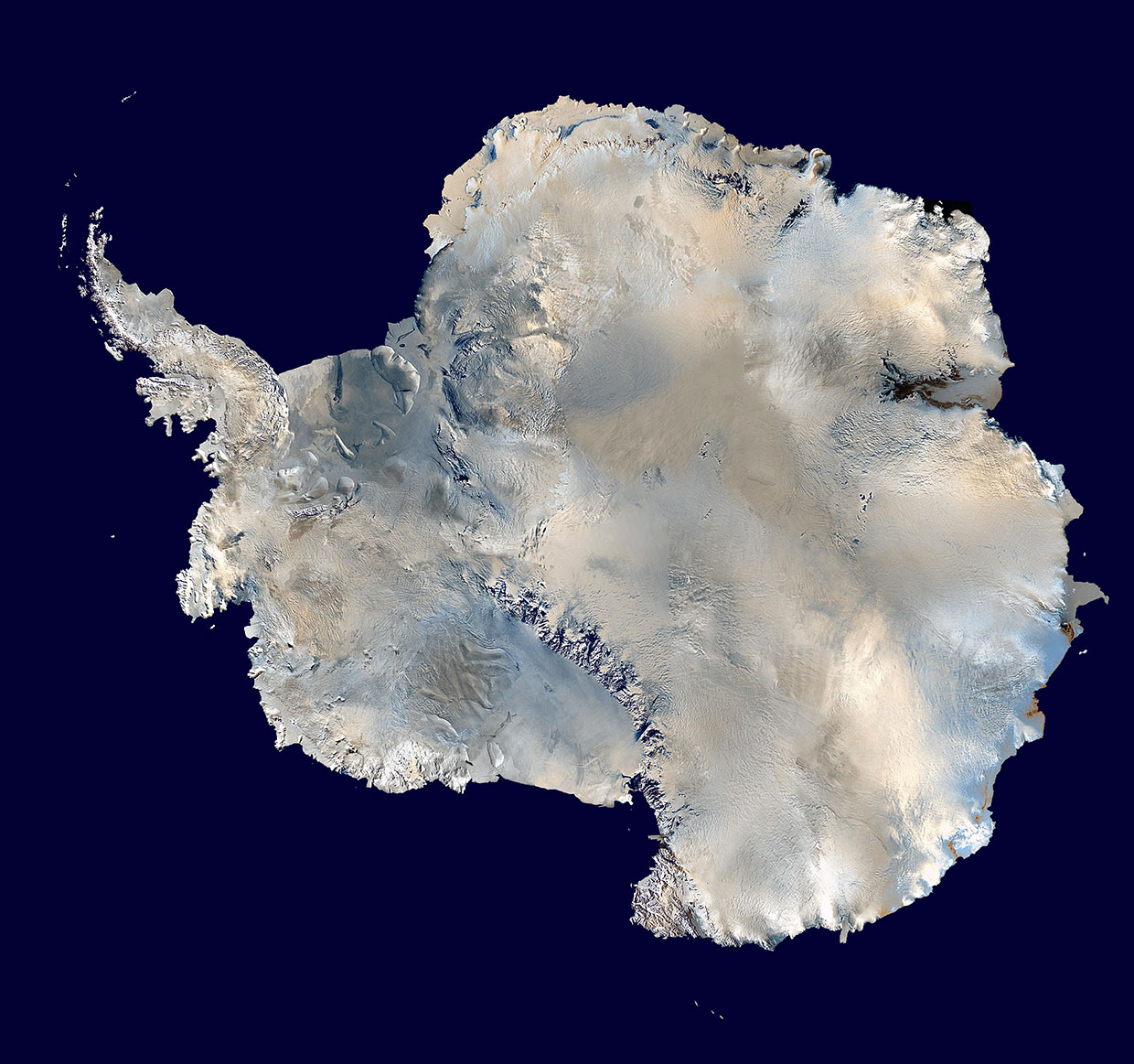 Satellite image of the continent of Antarctica