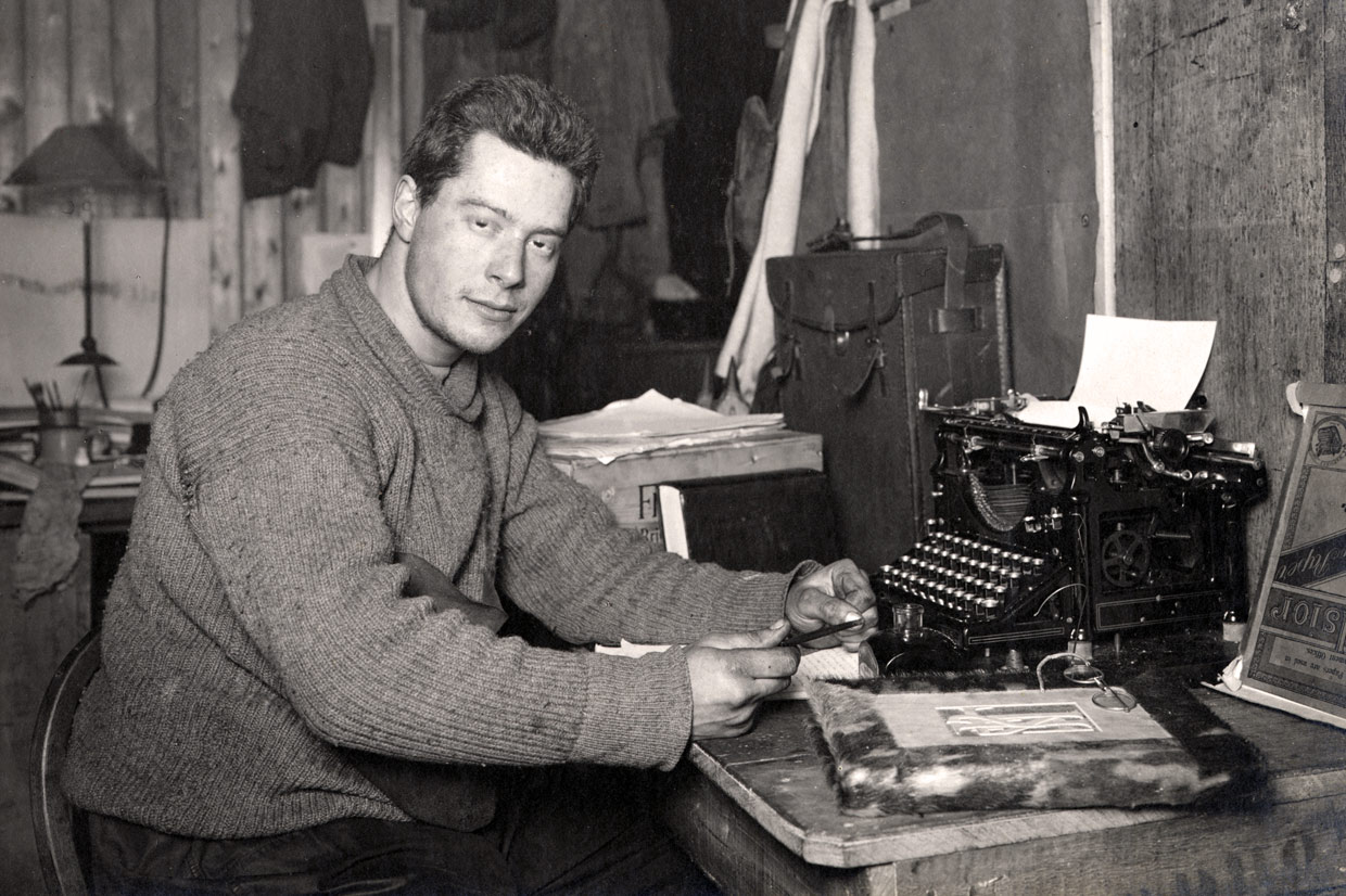 Apsley Cherry-Garrard working on the South Polar Times, 1911 © Royal Geographical Society