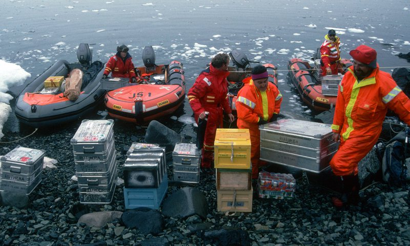Landing supplies for Rothera research station