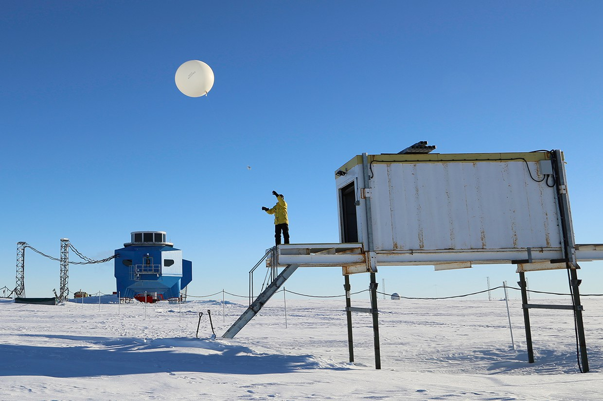 daily meterological balloon launch at the British Antarctic Survey's Halley VI Research Station