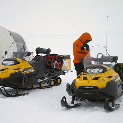 Skidoos and scientists on Pine Island Glacier