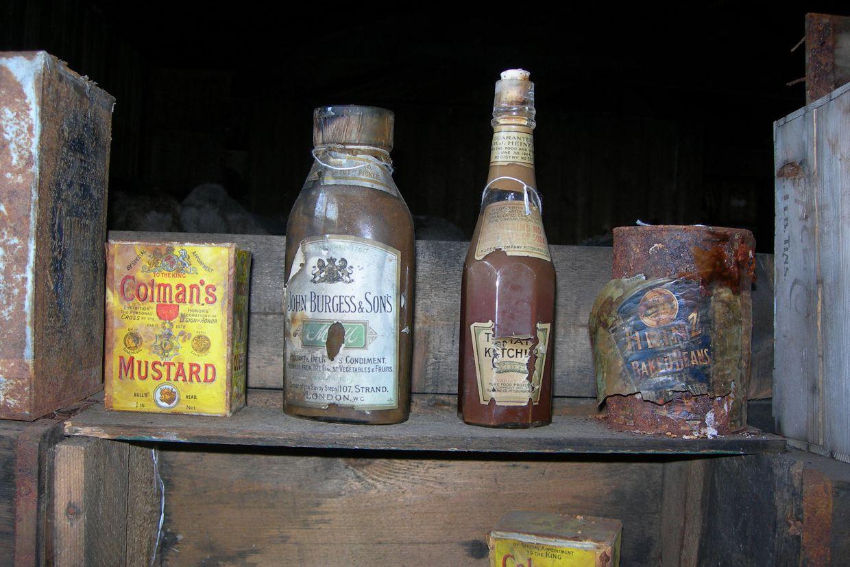 Left over rations in Scott's Hut, Cape Evans.
