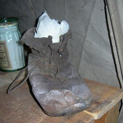 Century old boot left in Scott's Hut, Cape Evans