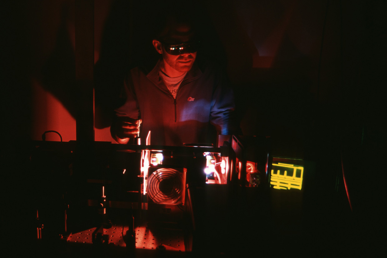 fine tuning the lasers in the LIDAR (Light Detection and Ranging) caboose at Rothera Research Station