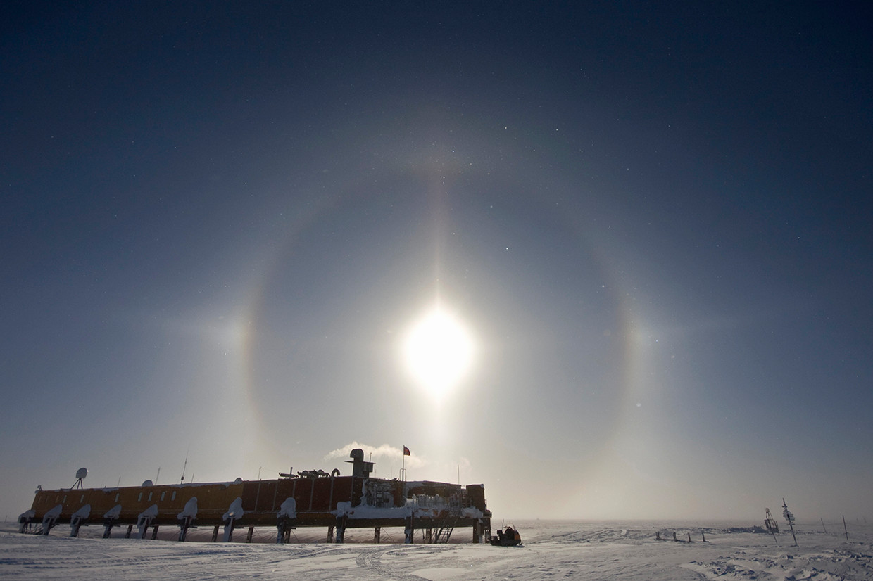A sun halo above the Laws Platform at Halley V Research Station, Brunt Ice Shelf.