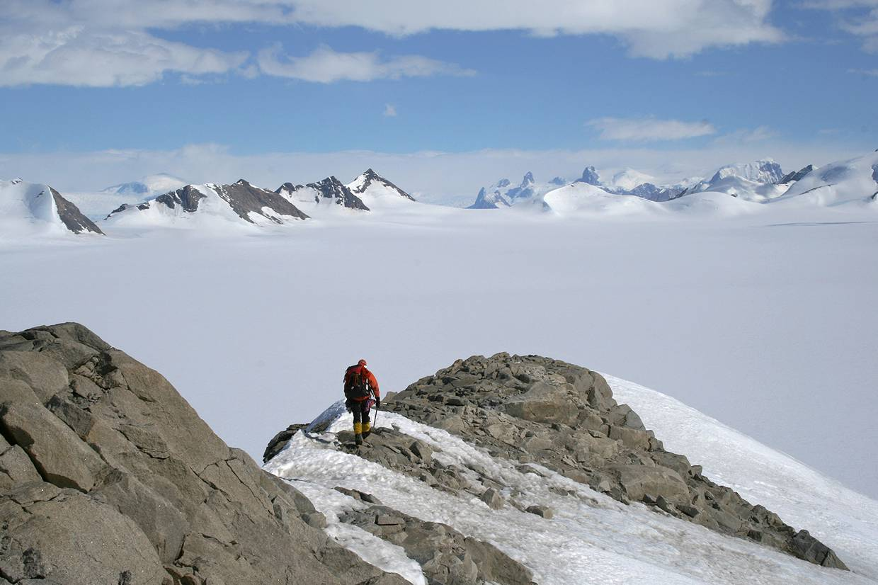 Geologist on nunatak, northern Churchill Peninsula © British Antarctic Survey