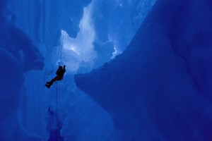 abseilling in a blue ice crevasse