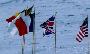 Flags at the ceremony site on Antarctica