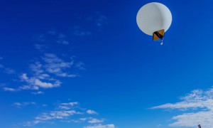 Weather ballon against a blue sky