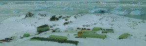 The view looking East, across Rothera Research Station.