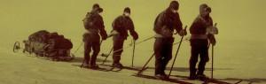 The polar party on the polar plateau. Evans, Oates, Wilson, Scott, photograph taken by Bowers.