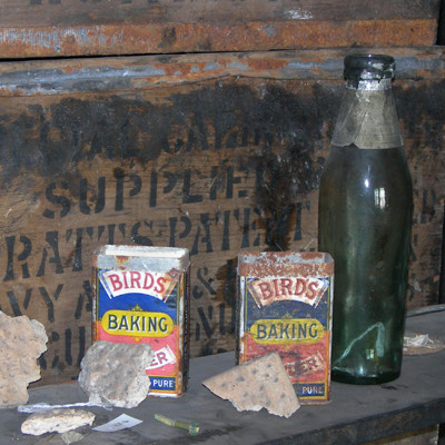 Provisions preserved in Discovery Hut, McMurdo Station which was last occupied in 1917.