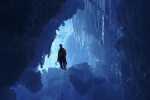 Exploring a crevasse