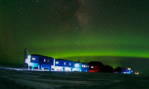 Halley VI research station with green light