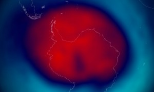 Edited NASA PR image showing the ozone hole over the south pole. Red is bad, blue is good, e.g., red means not as much ozone as blue. 2014