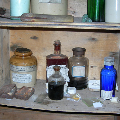 Medicine cabinet in Scott's Hut, Cape Evans.