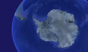 Antarctica from space showing other continents