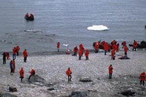 Tourists from World Discoverer (average age 65) landing to visit Penguin colonies.