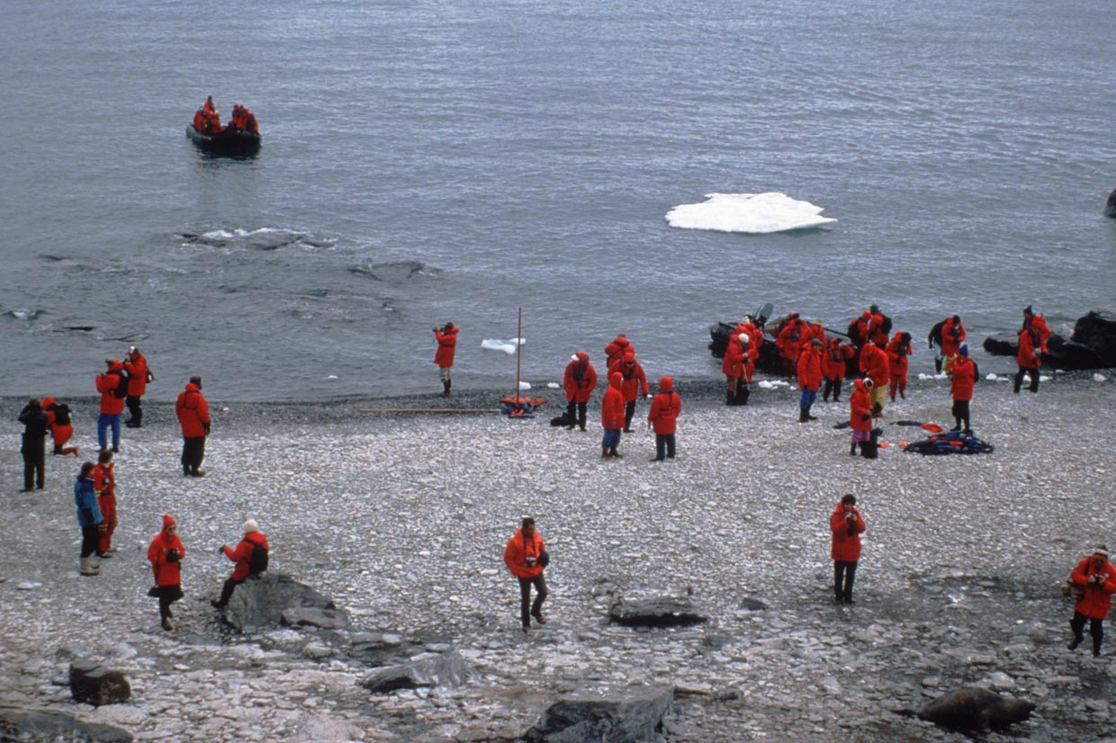 Tourists from 'World Discoverer' landing to visit Penguin colonies