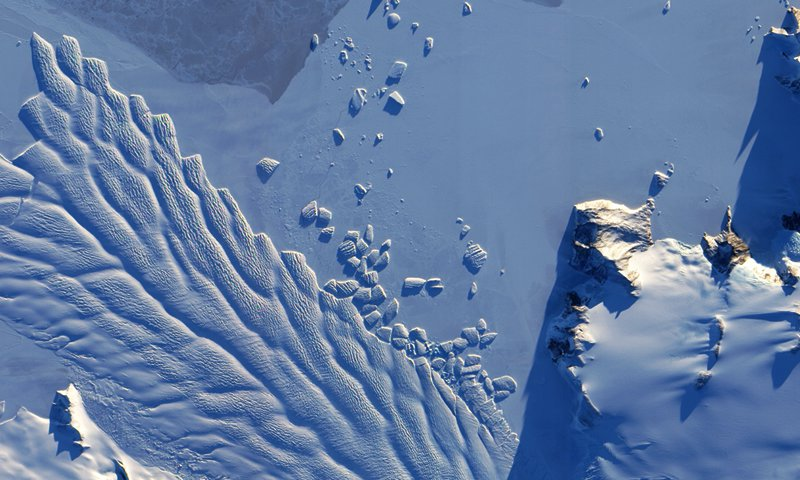 aerial view of a glacier