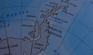 Close up of map of Antarctic peninsula