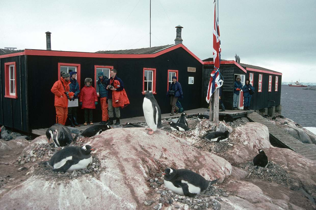 Visitors to the Antarctic Heritage site of Port Lockroy. Port Lockroy was established in 1944 is the only surviving base from Operation Tabarin and is one of the most visited tourist sites in Antarctica.