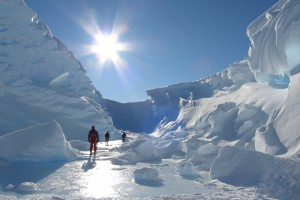 walking in the winter sunshine on an ice shelf