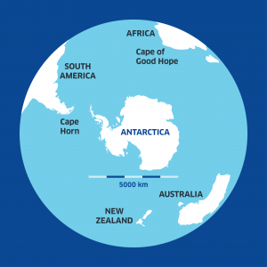 a map view of antarctica from underneath the globe