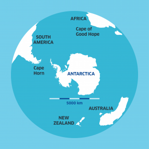 antarctica on the globe