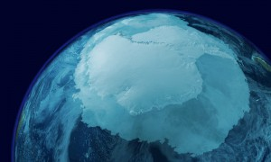 View of Antarctica from space showing sea ice